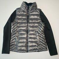 Calvin Klein Perform Women Jacket Gray Puffer Vest w black sleeve Size XS