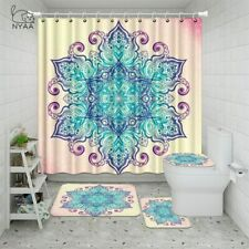 Hippie Mandala Bathroom Shower Curtain Toilet Cover Rugs Bath Mat Sets Decor