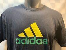 ADIDAS Black Green Yellow 3 Stripes T-Shirt Size L