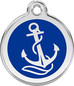 Engraved Dog ID Identity Tags / Discs ANCHOR / SEA / SAILING Red Dingo (1AN)
