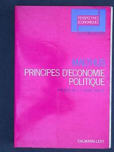Malthus Principes d'économie politique - Calman Lévy 1969 Rente Richesse Travail