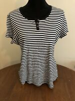 Croft & Barrow Size XL Short Sleeve Knit Henley Top Black White Stripe