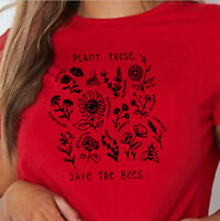 Women Plant These Save The Bees Floral Tee Casual Blouse Letter Top Red T-Shirt