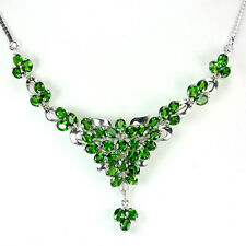 Sterling Silver 925 Genuine Natural Chrome Diopside Cluster Necklace 18 Inch