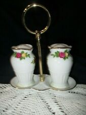 OLD COUNTRY ROSES ROYAL ALBERT TALL SALT PEPPER SHAKERS ON STAND CADDY HANDLE