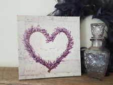 SHABBY COUNTRY LAVENDER HEART CANVAS WALL PRINT PLAQUE