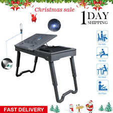 Foldable Laptop Table Tray Desk Tablet Stand Bed Sofa CouchW/Cooling Fan Black