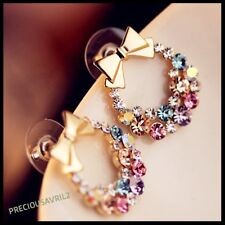 Multi-coloured rhinestone butterfly bow stud earrings for women girls christmas
