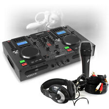 More details for dual twin cd usb player dj desk mixer with bluetooth jog wheels & microphone set