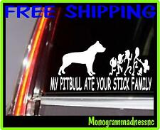 MY PITBULL ATE YOUR STICK FAMILY VINYL DECAL STICKER CAR TRUCK