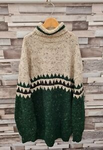 WOMENS VTG 90'S HAND KNIT WINTER WOOLLEN ABSTRACT PULLOVER COSBY KNIT JUMPER M