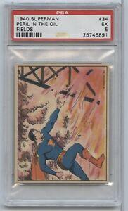 1940 Superman Gum Peril in the Oil Fields #34 PSA 5