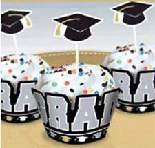 Graduation Hats CUPCAKE WRAPPERS AND PICKS Decoration Party Grad Party    5-7D