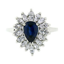 Vintage Platinum 2.69ctw GIA NO HEAT Sapphire & Diamond Ballerina Cocktail Ring