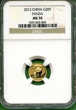 CHINA  PANDA 2012   NGC MS 70  1/20 OZ  GOLD  20 YUAN