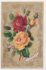 CPA CELLULOID AJOUTIS Roses jaune  rose  doré un rien est tout ca1908