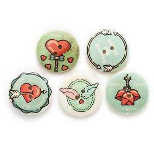 10pcs Love Painted 2 Hole Wood buttons Sewing Scrapbook Clothing Crafts 30mm