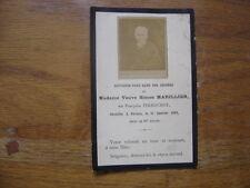 1893 IMAGE PIEUSE RELIGIEUSE avis de deces Holy card Santini Memento MARILLIER