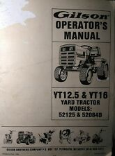 Gilson Yt12.5 Yt16 Yard Tractor Owner & Parts Manual Ford Lawn-Boy 52125, 52084D