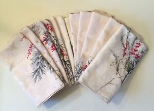 """Dinner Napkins12 Vintage Pine Needles Branches Red Berries Cotton Polyester 18"""""""