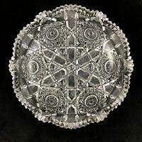 """🟩 Antique Elmira ABP Brilliant Cut Glass No. 33 Pattern 8"""" Low Bowl"""
