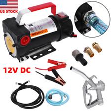 Dc 12v Electric Fuel Transfer Pump Diesel Car Transfer Pump With Nozzle Amp Hose Us