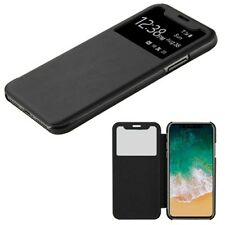 BLACK Window Screen Leather Flip Wallet Hard Case Thin Cover For Apple iPhone X