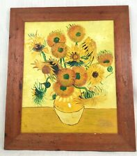 Original Oil Painting After Vincent Van Gogh Sunflowers Large Framed Canvas