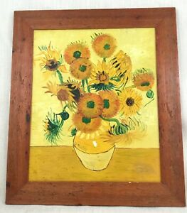 Original Oil Painting After Vincent Van Gogh Sunflowers Large Framed Canvas