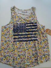 GIRLS SIZE 18 1/2 MUDD BRAND FLORAL PRINT AMERICAN FLAG TANK NEW NWT #1235