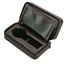 Diplomat Double Travel Watch Case Black Leather with Black Suede Zippered 31-467