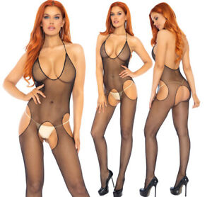Leg Avenue Seamless Cut Out Fishnet Halter Suspender Bodystocking/Body One Size