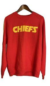 Kansas City Chiefs Mens Medium NFL Reebok Sweatshirt Red With Stripes On Sleeves