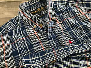 Musto Mens Quality L/sleeve Blue Check Shirt Custom Fit Large Vgc