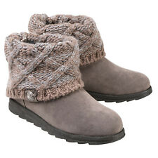 Women's Muk Luks Ankle Boots with Sweater Knit Cuff - Light Gray - Size 8