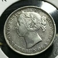 1899 NEWFOUNDLAND CANADA SILVER 20 CENTS SCARCE COIN