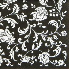 4x Paper Napkins for Decoupage Craft Arabesque Black White