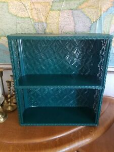 Vintage Wicker/Rattan 1980s 2-Tier Bathroom Cosmetic Shelf Hunter Green EUC