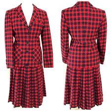 Pendelton Vtg Women 10 Blazer Suit Skirt Scottish Plaid Tartan Red Wool Holiday