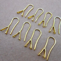10PCS DIY Design Finding Feather Silver Pinch Bail Hooks For Stone Earring