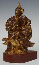 Early 20th Century, Antique Burmese Wooden Angel Riding Garuda