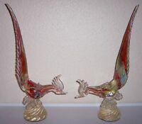 MURANO GLASS GOLD DUST MID-CENTURY LARGE PAIR ROOSTER FIGURINES!