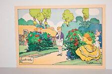 -cache-cache, jeu d'enfants dans un jardin, litho Barré-Dayez 1954