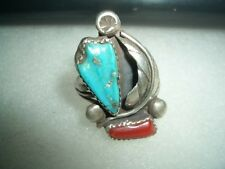NAVAJO STERLING TURQUOISE AND CORAL RING