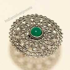 Onyx Ring Adjustable Ring Jewelry Stylish Silver Plated Handmade Ring Green