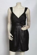 BCBG Maxazria Black Metallic Beaded Jacquard Cocktail Dress - size 8 / M