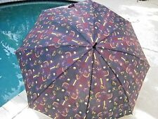 "Vintage Large Golf Design Umbrella 50"" VGC"