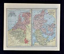 1885 Watson Map Holland Belgium Denmark - Amsterdam Brussels Copenhagen Holstein