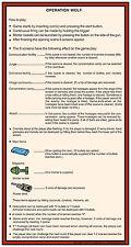 OPERATION THUNDERBOLT ARCADE  INSTRUCTION CARD