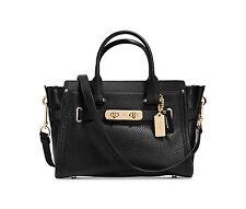 NWT COACH Pebble Leather Swagger 27 Crossbody Handbag Satchel Black 34816 $450